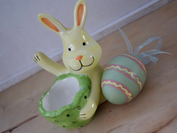 "Egg cup with waving yellow bunny rabbit ""yoo hoo"", for kids, for grown-ups, for breakfast, for your chocolate egg, housewarming wedding gift"