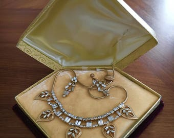 Phyllis Boxed Jewellery Set Gold Rhinestone Earrings and Necklace Stunning!