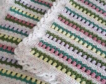 Crochet baby blanket, nursery, throw, blanket, multi coloured, wave border, baby, baby gift, gift, tulips in a row, flower