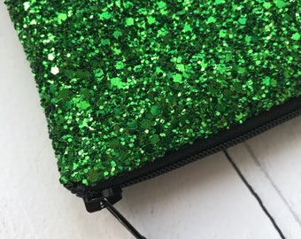 Emerald green glitter bag, party clutch bag, Green glitter clutch bag, green evening bag, wedding clutch bag, prom clutch bag