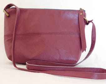 Red wine reclaimed leather small cross body bag