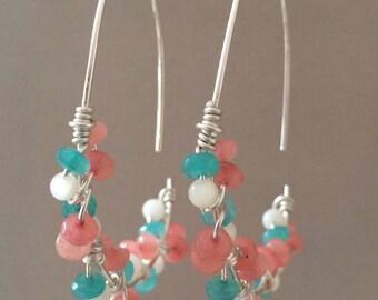 Sterling Silver Half Hoop Earrings, Wire Wrapped Threader Earrings, Pastel Earrings