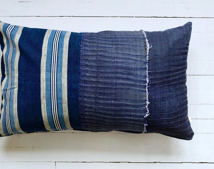 "Vintage Japanese indigo Stripes pillow 16"" x 26"""