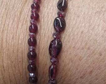 Gorgeous Garnet & Crystal Double Strand Bracelet