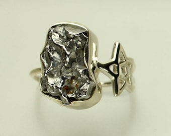 Meteorite Silver Ring, Genuine Meteor, Sterling Silver Band, Star and Astroid Ring