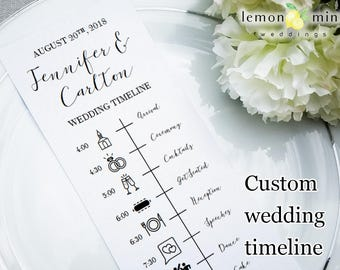Custom wedding timeline card, personalized wedding timeline with icons, customized wedding day timeline, digital template or printed cards