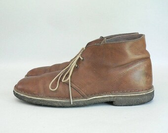 Mens 10 Brown Leather Ankle Desert Boots