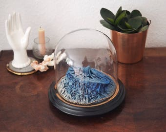 Glassdome  Antique 1900 blue silk, German Display Dome for Bridal Crowns, German Antique Mouth-blown Glass Cloche
