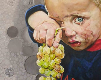 Realistic and original painting made of acrylic on cotton canvas. Reason: Portrait of a child with grapes. Very expressive neorealist style