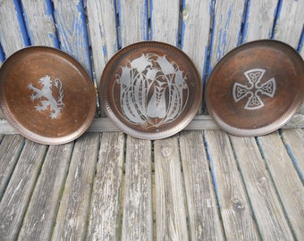 Hugh Wallis Copper and Pewter Inlay Trays Paul Gillings.