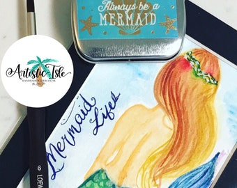 Mermaid dreams Watercolor Set, Handmade Watercolor, mermaids, dream, watercolor paint, half pan,watercolor tin, watercolor palette, shimmer