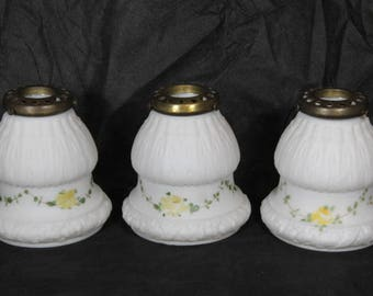 Hand Painted White Glass Lamp Shades