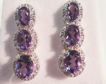 14 Karat Dropstone Amethyst and Diamond Earrings
