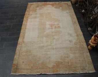 Lion Patterned Rug, Oushak Rug, 4 x 6.7 Handmade Turkish Rug, Faded Rug Free Shipping, Vintage Area Rug, Area Rug, Anatolian Rug No 1086