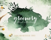 Watercolor greenery  Clipart, shapes and green floral clip art,  grange watercolor and floral bouquets, wreath  and flowers, eco design card