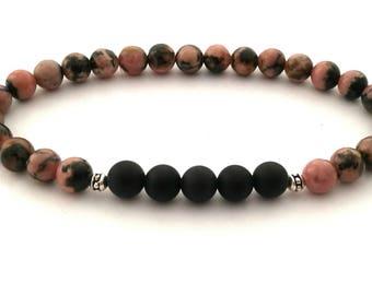 Beaded Bracelet, Women's Bracelet, Rhodonite Bracelet, Onyx Bracelet, Gemstone Bracelet, Gift for Her