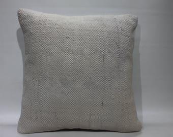 "White Pillow Cushion Case Decorative Kilim Pillows Flat Woven Turkish Kilim Pillow 16"" x 16"" Pillow/Cushion Cover  2573"