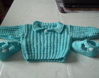sweater and booties - handmade knit baby 0/3 months-