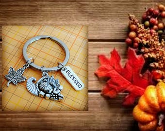 Maple Leaf, Fall Keychain, Cornucopia, Leaf Keychain, Leaf Key Chain, Autumn Leaves, Gifts for Fall, Fall Harvest, Family Blessings