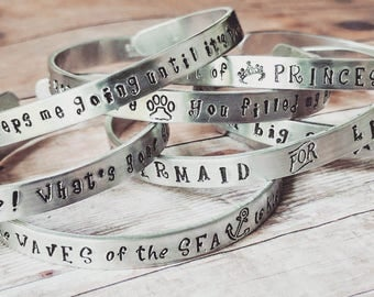 Stamped cuff, Stamped bracelet, Quote bracelet, Silver stamped, bracelet cuff, cuff bangle, Silver bracelet, gift bangle, Free Shipping