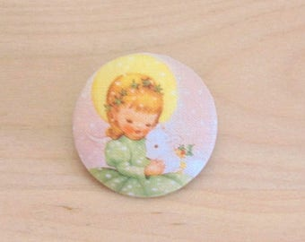 1 button x 19mm ref A34 Christmas girl fabric