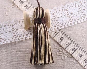 x 1 tassel, Brown and beige handmade tassel 6cm