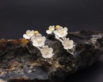 Sterling silver lpum blossom earrings, silver flower earrings
