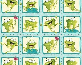 "Sale! NEW! Frogland Friends- PER YD - Henry Glass by Nidhi Wadhwa - Froggie Squares 2.5"" Blocks"
