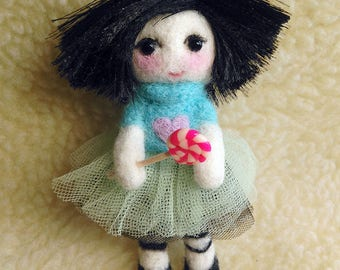 Needle Felted doll , pendant doll, Toy, felted doll with lollipop