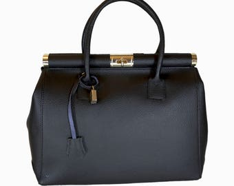 LAFatima Black Leather Bag/Office Bag/Tote Bag/Leather Bag/Large Leather Tote BagMade in Italy/LeatherWork Bag/Handmade Leather Bag