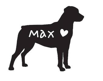 Rottweiler Auto Decal / Rottweiler / Rottweiler Decal / Pet Decal / Vinyl Decal / Vinyl / Rottie / personalized pet decal / heart decal