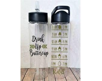 Drink Up Buttercup, Water Tracker Bottle, Water Measurer, Water Tracker, Hydration Bottle, Fitness Bottle, Gym Water Bottle