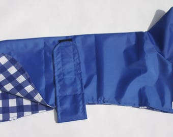 "Royal Blue Showerproof Coat with Navy Gingham Brushed Cotton Lining 22"" - 32"""