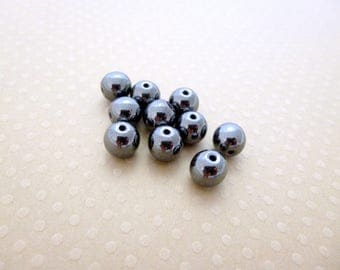 Set of 10 beads Hematite 8 mm - 0740 PSPH8 round