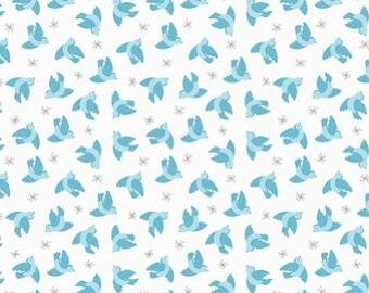 Quilting Cotton - Lewis & Irene - So Darling - Flying Blurbirds on Cream - 1/2m piece