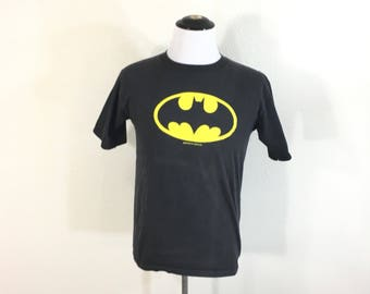 80's vintage batman logo t-shirt 100% cotton size L made in usa
