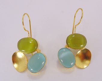 Blue Chalcedony Earrings - Designer Earrings - Handmade Earrings - Green Stone Earrings - Modern Earrings - Drop Earrings - Gift For Her