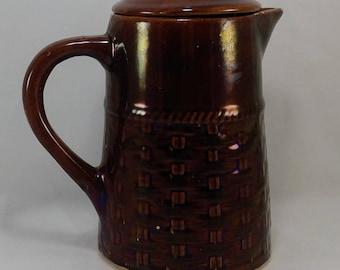 Medalta Pottery 1936-1942, Lustreware, Pitcher, Basketweave Pattern, Medicine Hat, Alberta Canada, Brown, Antique Pitcher, Antique Jug,