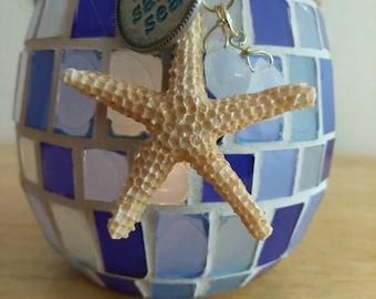sun. sand.sea. Collection- Round blue mosaic glass tile Beach Tea light & Pillar Candle holder
