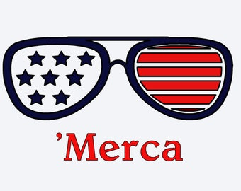 Sunglasses 'Merca Iron on decal