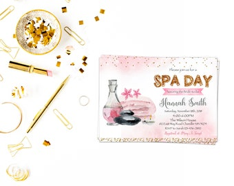 Spa day bridal shower card,Spa Birthday Invitation, Spa Birthday, Spa Invitation, Girls Birthday, Girls Spa, Girls Day Out