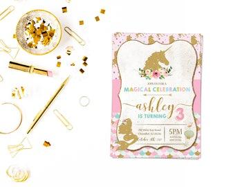 Unicorn mermaid invitation,Girl Birthday Invitation, Rainbow Unicorn Party, Princess Birthday Party, Rainbow Invite,unicorn party,mermaid