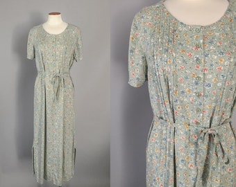 Vintage 1990s sage green ditsy floral short sleeve pin tucked cotton midi dress / 90s dress / 90s floral midi / small S