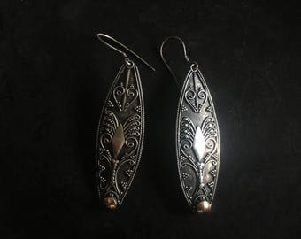 Bali silver earrings. Vintage hand made intricate statements in silver and vermeil. Long and lovely