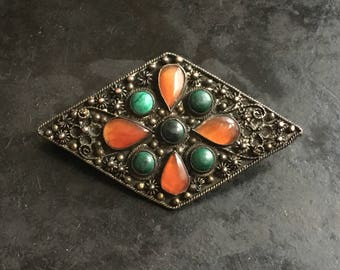 Old Chinese export silver washed brooch with carnelian and turquoise stones