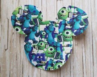 "HUGE 7""x 8"" Disneyland Mickey Mouse Fabric Iron On Applique DIY No Sew, Family Matching Shirts, Custom, Personalized Monster's Inc Sully Boo"