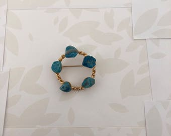 Vintage Brooch - Antique Brooch - Brooch - Teal - Teal and Gold - Brooch Pin - Pins and Brooches - Scarf Brooch - Vintage - Vintage Jewelry