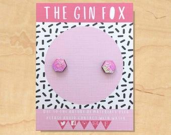 Light Pink Iridescent Stud Earrings • Pink Earrings • Mermaid  • Iridescent Glitter • Handmade Earrings • Wooden Earrings •