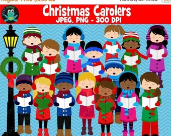 75% OFF SALE Christmas Carolers Clipart, Commercial Use, Carolers - UZ889