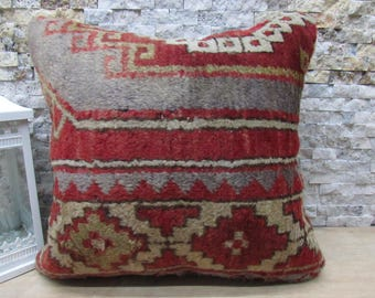 red colored carpet pillow 18x18 morocco pillow bedding 18x18 striped pillow home decor sofa pillow boho decorative pillow for couch cushion